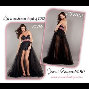 Jovani Black Pink Romper NWT Formal Bling Sexy